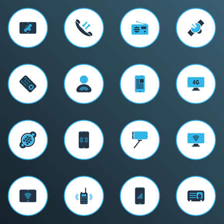 Telecommunication icons colored set with user relationship, communication console, tablet connection and other receiver