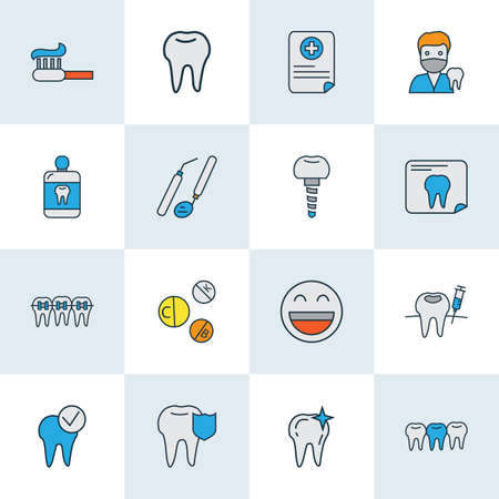 Tooth icons colored line set with dental tools, smile, carries defense and other enamel