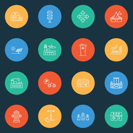 City icons line style set with swimming pool, traffic lights, alternative energy and other breaststroke  elements. Isolated vector illustration city icons. Vettoriali