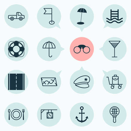 Travel icons set with world exploration, restaurant, roadmap and other basin ladder