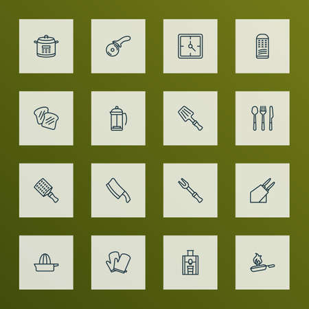 Cook icons line style set with juicer, clock, kitchen gloves and other potholder   elements. Isolated vector illustration cook icons.  イラスト・ベクター素材