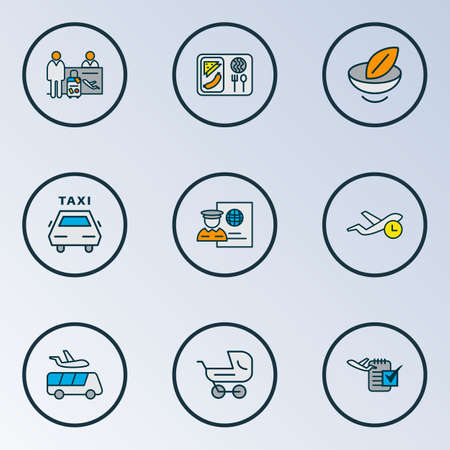 Airport icons colored line set with passport control, airport shuttle, plane food and other cab   elements. Isolated vector illustration airport icons.