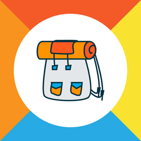Backpack icon colored line symbol. Premium quality isolated rucksack element in trendy style.