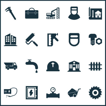 Construction icons set with school, pipe with sensor, construction stapler and other rig vehicle