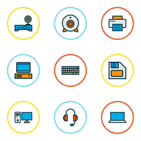 Hardware icons colored line set with computer, PC, laptop and other workstation