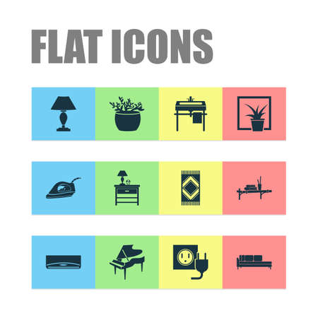 Interior icons set with carpet, wall shelf, wash stand divan