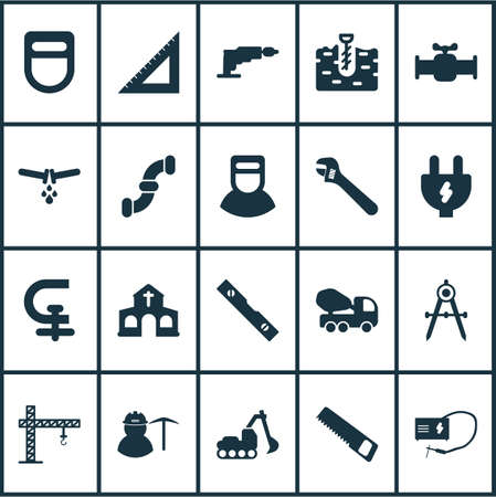 Construction icons set with miner, excavator, saw and other triangle ruler  elements. Isolated vector illustration construction icons.