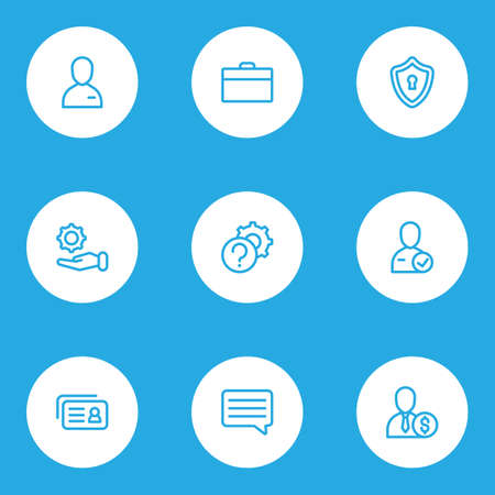 Job icons line style set with privacy, briefcase, candidate employee elements. Isolated vector illustration job icons.