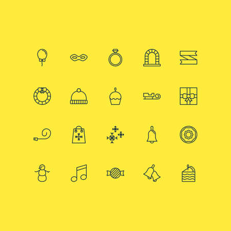 Year icons set with ring, pastry slice, bell and other arch