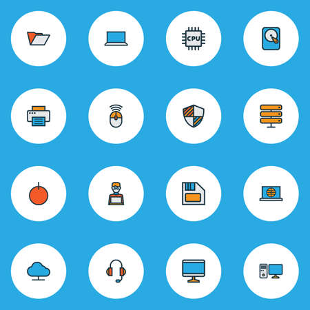 Computer icons colored line set with PC, laptop, floppy disk and other hdd  elements. Isolated  illustration computer icons.