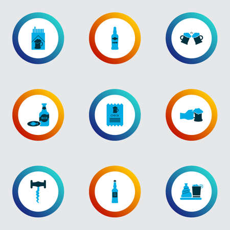 Drink icons colored set with vodka, beer with fish, cigarettes and other tobacco