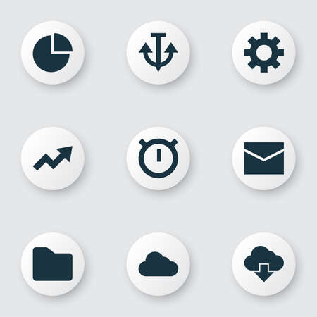 Interface icons set with anchor, folder, stopwatch and other increase