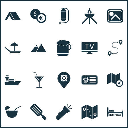 Tourism icons set with ice cream, oxygen cylinder, the mountains and other guidance   elements. Isolated vector illustration tourism icons.