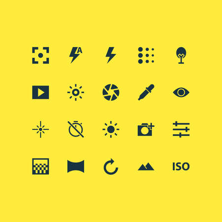 Picture icons set with remove red eye, flare, blur and other thunder  elements. Isolated vector illustration picture icons. Illustration