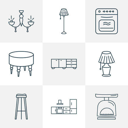 Interior icons line style set with lamp, kitchen set, sideboard and other light  elements. Isolated vector illustration interior icons.