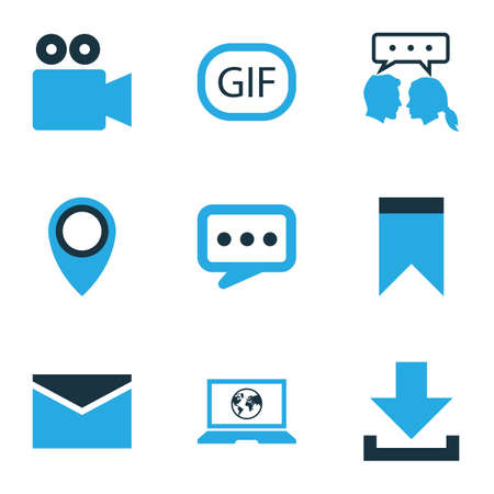 Media icons colored set with pinpoint, down arrow, laptop and other video conversation   elements. Isolated vector illustration media icons.
