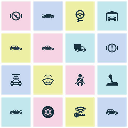 Auto icons set with gear lever, seat belt not on, handbrake warning hatchback   elements. Isolated vector illustration auto icons.