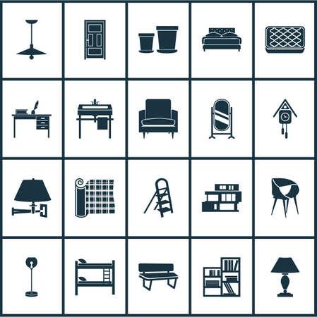 Iconos interiores con estantería, silla elegante, lámpara de techo y otros elementos de reloj de pared. Ilustración de vector aislado iconos interiores. Ilustración de vector
