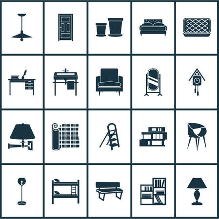 Interior icons set with shelving unit, stylish chair, ceiling lamp and other wall watch elements. Isolated vector illustration interior icons.