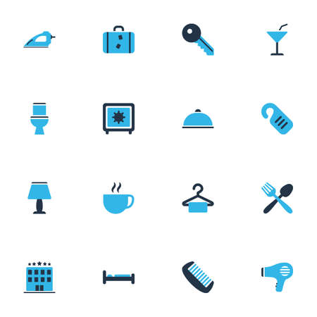 Tourism icons colored set with toilet, comb, iron and other wc   elements. Isolated vector illustration tourism icons.