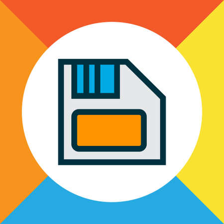 Floppy disk icon colored line symbol. Premium quality isolated diskette element in trendy style.