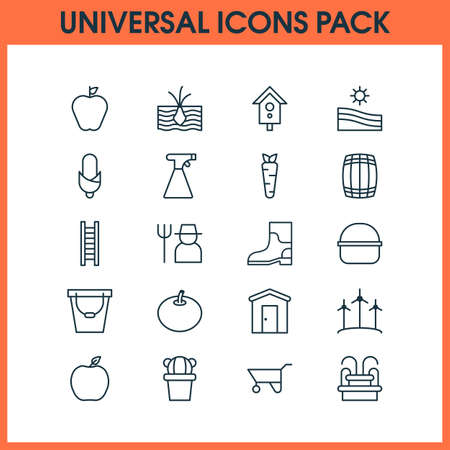 Garden icons set with barrel, sprayer, wind power and other package  elements. Isolated vector illustration garden icons.