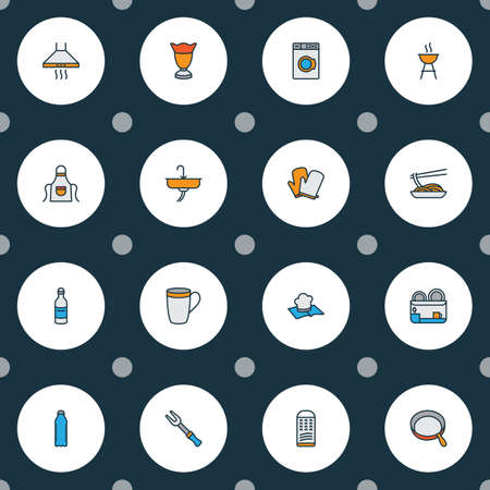 Cook icons colored line set with barbecue, recipe book, grater and other noodles elements. Isolated vector illustration cook icons.