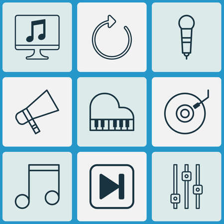Audio icons set with mike, fast forward song, dj disc and other note   elements. Isolated vector illustration audio icons.