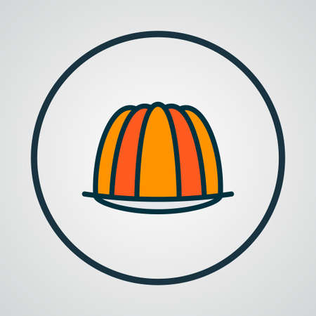 Pudding icon colored line symbol. Premium quality isolated custard element in trendy style.