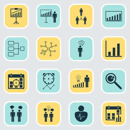 Iconos de autoridad establecidos con comunicación, presentación estadística, red de conexión y otros elementos de la estructura del sistema. Iconos de autoridad de ilustración de vector aislado. Ilustración de vector