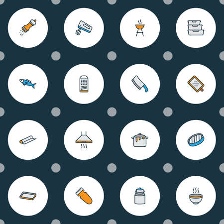 Gastronomy icons colored line set with barbecue, fish, grater and other dairy  elements. Isolated vector illustration gastronomy icons. Illustration