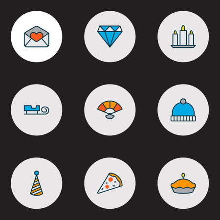 Happy icons colored line set with pizza slice, party hat, love letter and other beanie