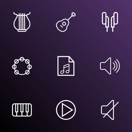 Multimedia icons line style set with play, mute, play list and other soundless   elements. Isolated vector illustration multimedia icons.