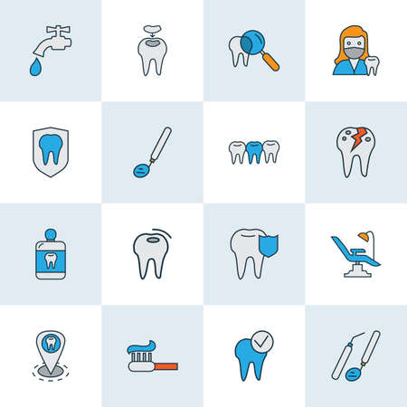 Tooth icons colored line set with dental care, dental fillings, teeth and other broken dental  elements. Isolated vector illustration tooth icons. Standard-Bild - 119164126