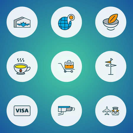 Airport icons colored line set with direction, globe with pin, visa and other aviation   elements. Isolated vector illustration airport icons. 向量圖像