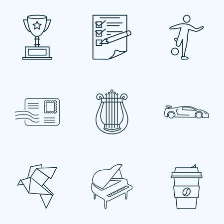 Hobby icons line style set with origami, harp, planning and other decaf