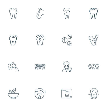 Dental icons line style set with hole in tooth, bad tooth, drill and other decay  elements. Isolated vector illustration dental icons. Standard-Bild - 119237182