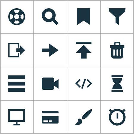 Iconos de interfaz configurados con cierre de sesión, reenvío, marcador y otros elementos de salida. Iconos de interfaz de ilustración de vector aislado.