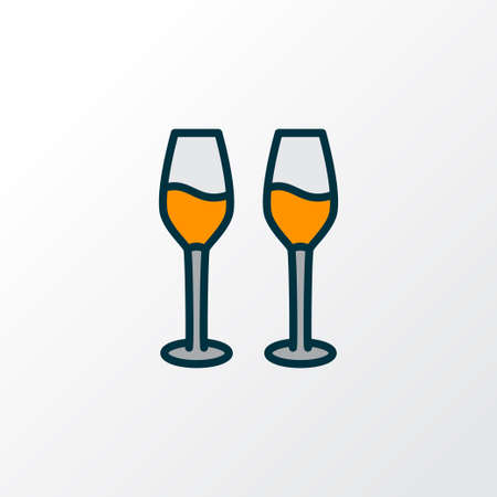 Wine glasses icon colored line symbol. Premium quality isolated cabernet element in trendy style.  イラスト・ベクター素材