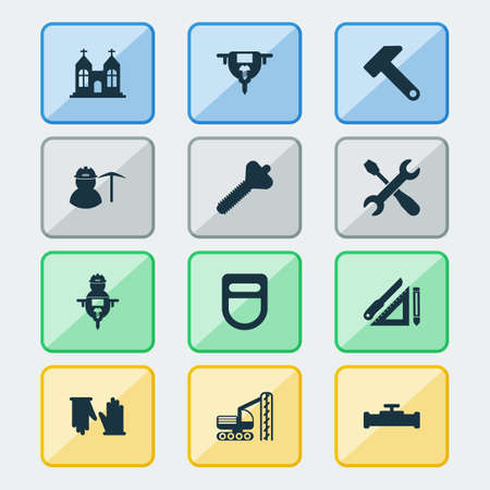 Industrial icons set with screwdriver with key, pipeline with crane, welding helmet and other sewerage elements. Isolated vector illustration industrial icons.