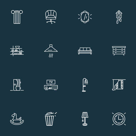 Home decoration icons line style set with door, rocking horse, armchair and other wall watch