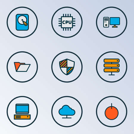 Hardware icons colored line set with PC, online cloud, hard disk and other power on