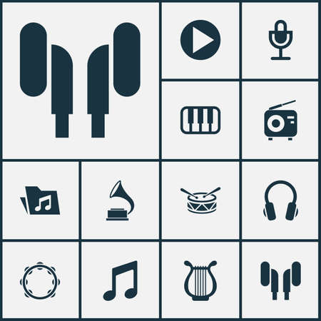 Multimedia icons set with microphone, headphone, folder and other barrel   elements. Isolated vector illustration multimedia icons.