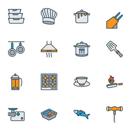 Cook icons colored line set with fish, spatula, tea cup and other dishware elements. Isolated vector illustration cook icons.