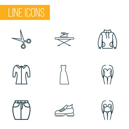 Fashion icons line style set with high-round collar, bikini, mid sleeve and other garment
