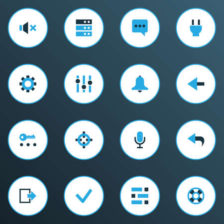 User icons colored set with chatting, undo, back and other lifebuoy