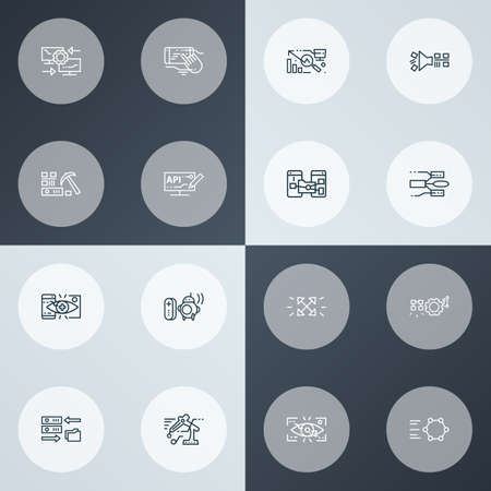 Information technology icons line style set with data migration, eyetap augmentation, modeling api and other statistics