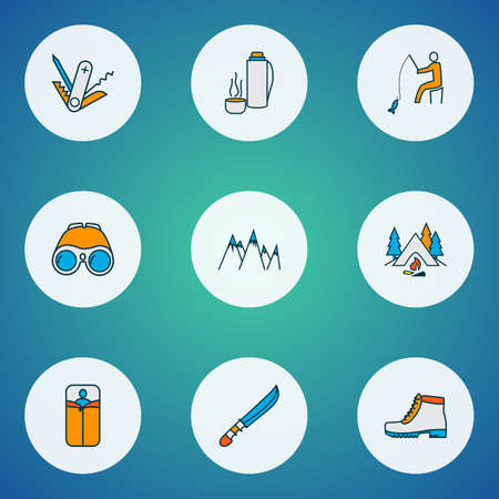 Vacation icons colored line set with binoculars, camping boots, mountains and other peak