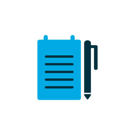 Record an order icon colored symbol. Premium quality isolated notepad element in trendy style.