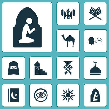 Religion icons set with koran, beg, minaret and other malay elements. Isolated vector illustration religion icons.